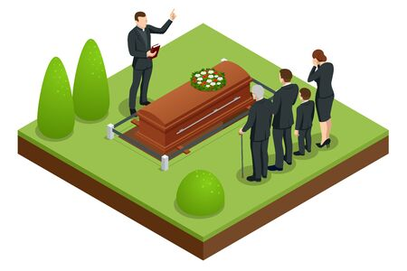 Isometric Funeral ceremony at the cemetery. Sad and crying people in black clothes are standing with flowers near the tomb. Funeral services