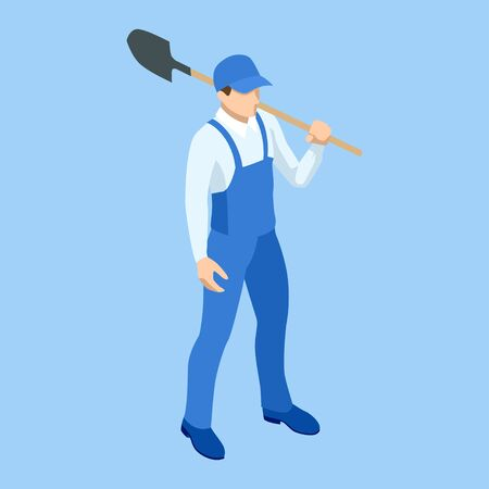 Isometric Farmer in working clothes with a shovel in hand. Construction worker with a shovel. Worker digging with a shovel isolated