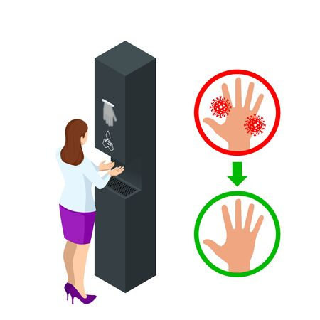 Isometric automatic alcohol hand sanitizer dispenser protection coronavirus Covid-19. Rubbing alcohol, wall mounted soap dispenser, wall hanging hand wash container Covid-19 spread prevention. Ilustração Vetorial
