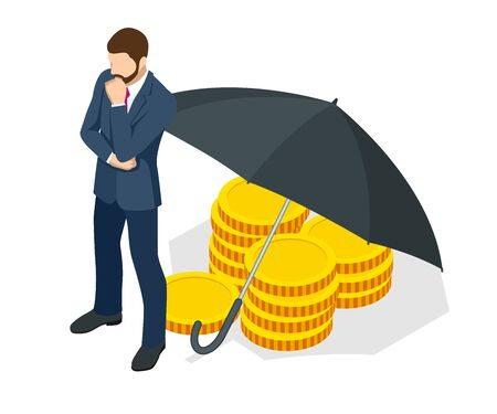 Saving and protection money deposit concept. Isometric security of money, guaranteed deposits. Client rights protection. Compensation for losses in inflation, safeguarded investment capital.