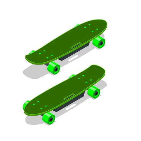Isometric electric skateboard or longboard isolated on white.