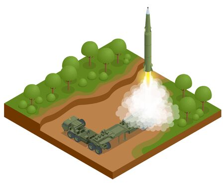Isometric Army tractor with a rocket. Medium Range Ballistic Missile. Conventional high explosive-unitary, penetration, sub-munitions, incendiary, thermobaric, strategic nuclear weapon