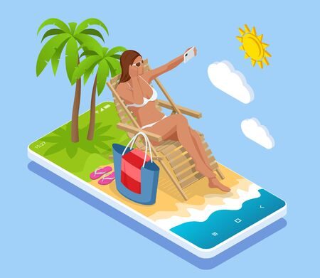 Its Summer time banner. Summer Luxury vacation. Isometric beautiful girl in a swimsuit sits in a beach chair and takes a selfie on the background of the sea