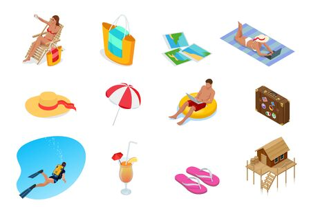 Isometric Collection of Summer icons. Summer and Holidays elements.