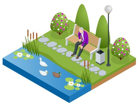 Isometric old man, senior relaxing and walking in the park near the lake. Active and healthy relaxation.