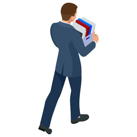 Isometric businessman isolated on write. dismissed frustrated business person holding a box with his things. Unemployment, crisis, jobless and employee job reduction