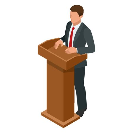 Isometric businessman isolated on write. Creating an office worker character, cartoon people. Business people. Tribune or pulpit for speaker official, president or professor. Banque d'images - 149594656