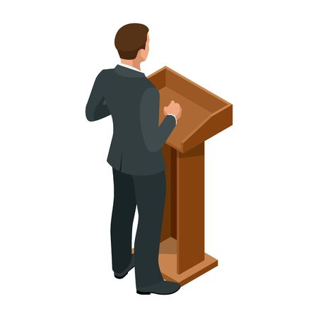 Isometric businessman isolated on write. Creating an office worker character, cartoon people. Business people. Tribune or pulpit for speaker official, president or professor. Banque d'images - 149594841