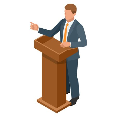 Isometric businessman isolated on write. Creating an office worker character, cartoon people. Business people. Tribune or pulpit for speaker official, president or professor. Banque d'images - 149594744