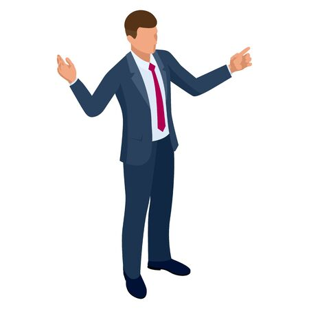 Isometric businessman isolated on write. Creating an office worker character, cartoon people. Business people. Vector Illustration