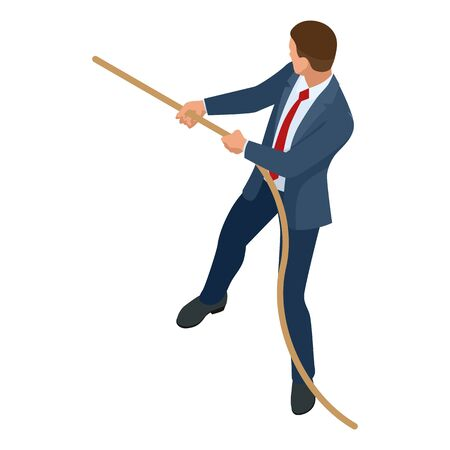 Isometric businessman isolated on write. Creating an office worker character, cartoon people. Business people. Businessman pulls the rope, Tug of war and symbol of rivalry.