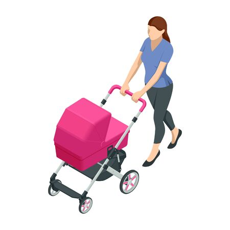 Isometric baby carriage isolated on a white background. Kids transport. Strollers for baby boys or baby girls. Woman with baby stroller walks. Theme of motherhood and fatherhood