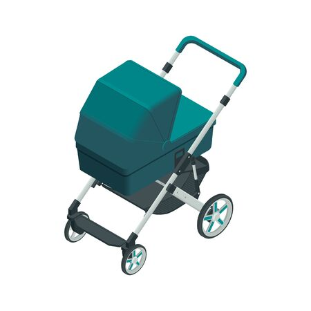 Isometric baby carriage isolated on a white background. Kids transport. Strollers for baby boys or baby girls. Ilustracja