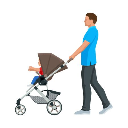 Baby carriage isolated on a white background. Kids transport. Strollers for baby boys or baby girls. Man with baby stroller walks. Theme of motherhood and fatherhood Vecteurs