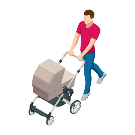Isometric baby carriage isolated on a white background. Kids transport. Strollers for baby boys or baby girls. Man with baby stroller walks. Theme of motherhood and fatherhood