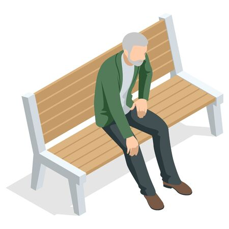 Isometric old man sitting on a bench and resting , front view, Isolated on white background.