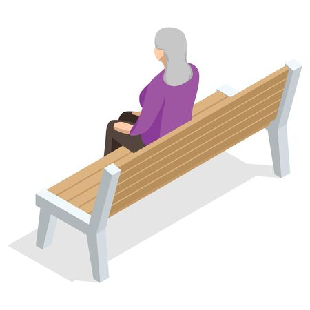 Isometric old woman sitting on a bench and resting , back view, Isolated on white background