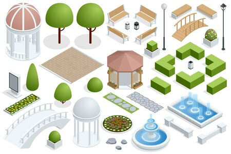 Isometric icon set for construction beautiful city parks. Buildings city garden park furniture. City park set with isolated elements