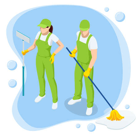 Isometric Washing and Cleaning service concept. Disinfection and cleaning. Vettoriali