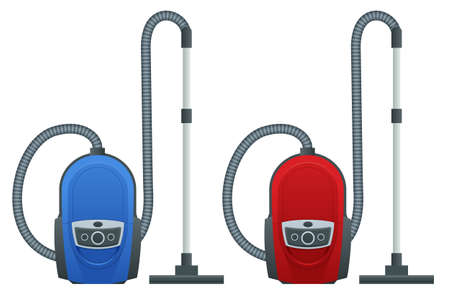 Isometric vacuum cleaner isolated on white background. Blue and red vacuum cleaners. Cleaning service concept. Disinfection and cleaning.