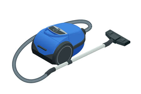 Isometric vacuum cleaner isolated on white background. Blue vacuum cleaner. Cleaning service concept. Disinfection and cleaning.
