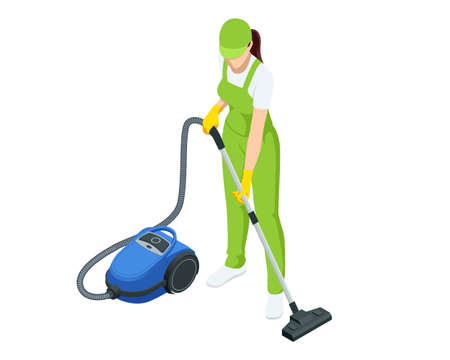 Isometric woman with a vacuum cleaners of various types isolated on white background. Washing and Cleaning service concept. Disinfection and cleaning.