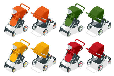 Isometric set of baby strollers isolated on white, kids transport