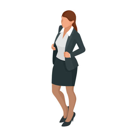 Isometric business woman isolated on write. Creating an office worker character, cartoon people. Business people.