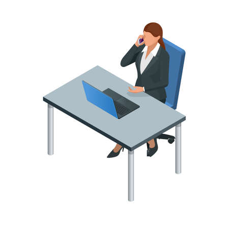 Isometric Business women stylish isolated on white. Business ladies, business woman character pose. Business woman working at the computer
