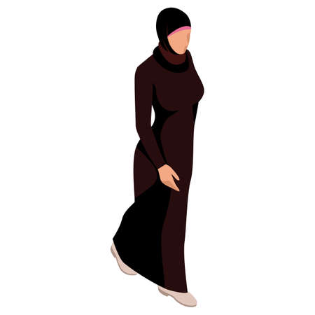 Isometric Business women stylish isolated on white. Business ladies, business woman character pose. Arab businesswoman character.