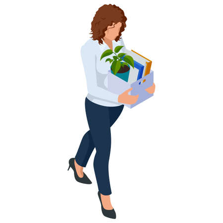 Isometric Business women stylish isolated on white. Business ladies, business woman character pose, dismissal, sadness, job search, unemployment Vetores