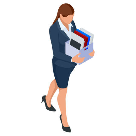 Isometric Business women stylish isolated on white. Business ladies, business woman character pose, dismissal, sadness, job search, unemployment