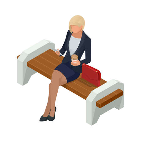 Isometric Business women stylish isolated on white. business woman resting in the park on a bench, drinking coffee and looking into a smartphone Ilustrace