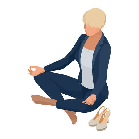 Isometric Business women stylish isolated on white. Business ladies, business woman character pose, meditation, calmness, relaxation, rest