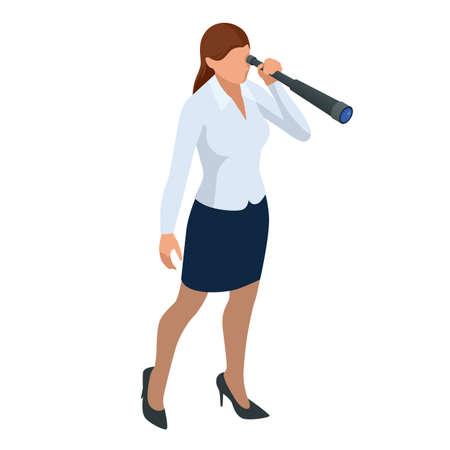Isometric Business women stylish isolated on white. Business ladies, business woman character pose. Business women using telescope looking for success.
