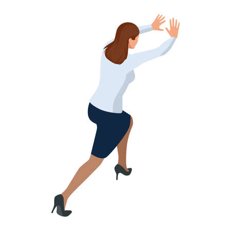 Isometric Business women stylish isolated on white. Business ladies, business woman character pose, push, resistance, difficult, stubbornness, tenacity