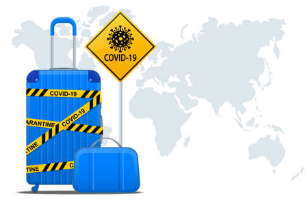 Tourism industry crisis. Flight ban, closed borders for tourists and travelers with coronavirus. Ban on travel to summer vacation due to risk of virus