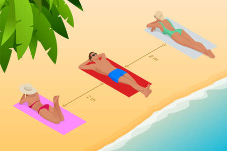 Relaxing on the beach during the coronavirus outbreak. Keeping the distance between people 2 m. Isometric illustration