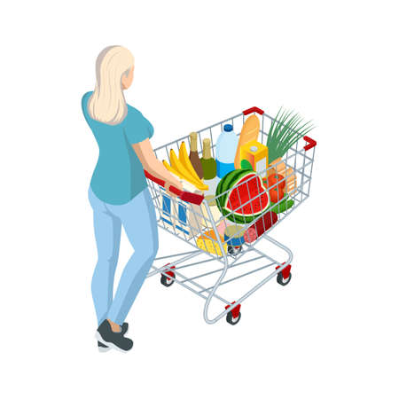 Shopping cart full of food. Woman pushing supermarket shopping cart full of groceries. Isometric illustration isolated on white background. Back view