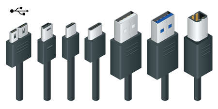 Isometric black usb types port plug in cables set with realistic connectors. Connector and ports. USB type A, type B, type C, Micro, Mini, MicroB and type 3.0