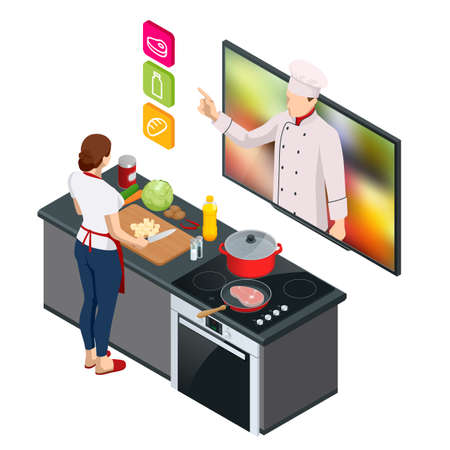 Isometric Cooking Education Online. Professional cooking. Woman chef cooking while streaming online for webinar masterclass lesson at home
