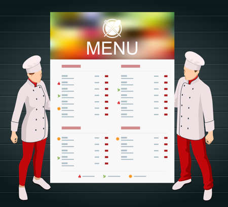 Isometric Online cooking classes concept. Online ordering food in a restaurant Vettoriali