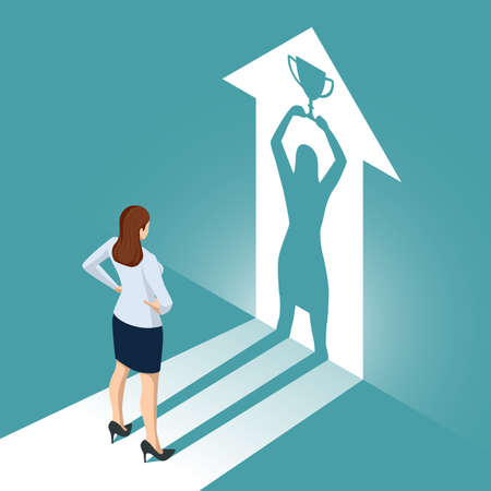 Isometric Businesswoman Watches his Shadow and Contemplating about Victory. Emancipation, Ambition, Success. Leadership Career Concept Vetores