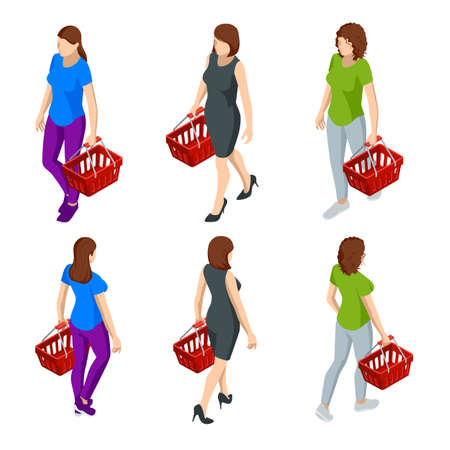 Woman with grocery basket cart from supermarket on white isolated background. Isometric shopping market basket with variety of grocery products Front view.