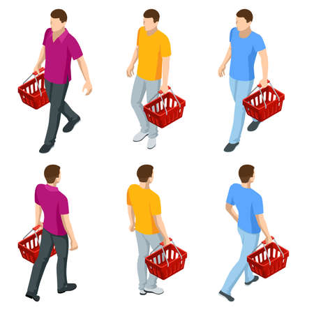 Man with grocery basket cart from supermarket on white isolated background. Isometric shopping market basket with variety of grocery products, front and back view.