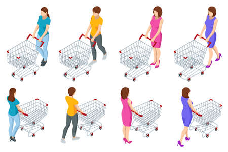 Shopping cart full of food. Woman pushing supermarket shopping cart full of groceries. Isometric illustration isolated on white background. front and back view Stock Illustratie