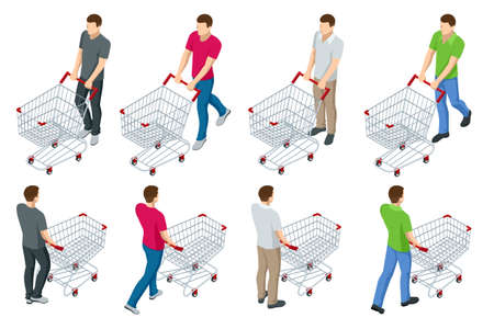 Shopping cart full of food. Man pushing supermarket shopping cart full of groceries. Isometric illustration isolated on white background. front and back view Stock Illustratie