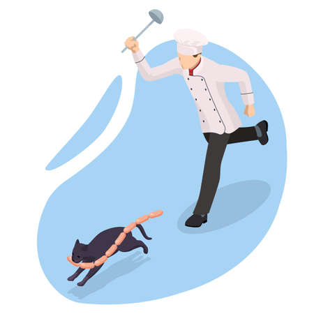 Isometric The chef drives away the black cat who stole the sausages. The cat runs away with a sausage in its mouth.