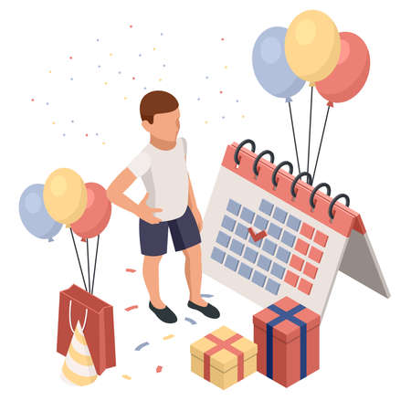 Birthday party isolated concept with colourful presents fairy lights flags balloons and sweets symbols. Kids celebrate birthday party. Isometric isolated vector illustration 矢量图像