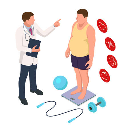 Doctors consultation for an overweight patient. Health risk, obesity. Doctors recommendations. Sport.